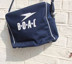 BOAC Flight Bag Classic White On Blue . Air Hostess Uniform, Flight Bag, Vintage Luggage, British Airways, Bed Duvet Covers, Classic White, My Father, Cool Toys, Planes