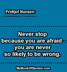 Never stop because you are afraid.... \  quote