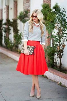 e85624505e Full red midi skirt with gray sweater layered over a white button down and  a statement necklace. / Work outfit / Fall or Winter Shower outfit / Ohio  State ...