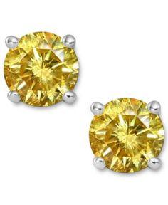 Fancy Yellow Canary Russian Lab Diamond Stud Earrings - Joy of London Jewels 14k White Gold Earrings, Gold Studs, Diamond Studs, Diamond Jewelry, Diamond Earrings, 14k Earrings, Gold Jewelry, Silver Rings, Jewellery
