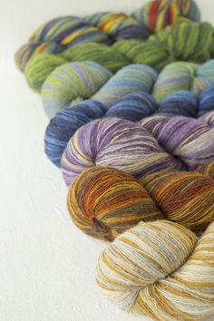 7 skeins set  Laceweight wool in various colors and weight