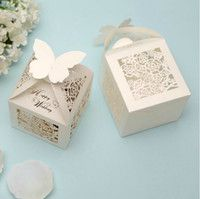 Wholesale 2015 Wedding Favor Holders Creative Pairs Ceremony Gift Box Candy Chocolate Bag Hollow Paper Packing Bags Printing Laser Cut Square