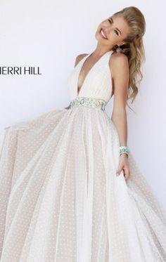 Sherri Hill 11250 Halter V Neck Beaded Ball Gown Prom Dress