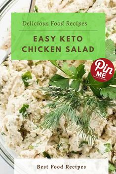 Easy Keto Chicken Salad This clean chook salad recipe is full of flavorful herbs. Discover ways to make simple, wholeso Keto Broccoli Cheese Soup, Best Chicken Recipes, Recipe Chicken, Keto Chicken Salad, Easy Freezer Meals, Recipe 21, Good Food, Yummy Food, Low Carb Breakfast
