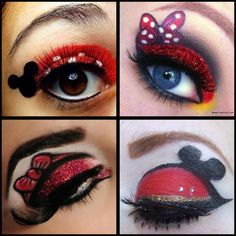 Minnie & Micky make up - Kostüme - Eye Makeup Disney Eye Makeup, Disney Inspired Makeup, Eye Makeup Art, Eye Art, Love My Makeup, Unique Makeup, Cute Makeup, Mini Mouse Makeup, Halloween Makeup Looks