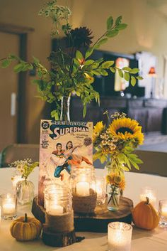 Comic Book centerpieces - Film posters instead of comics.