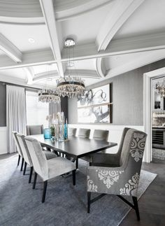 Elegant dining room with incredible ceiling detail | #MovingtheMcGs