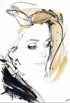 Fashion illustration by David Downton, Catherine Deneuve.