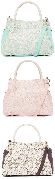 Lovely Lace Purses in Mint , Blush & Chocolate <3 So Pretty!