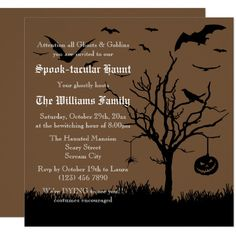 Spooky Silhouettes Brown Halloween Invitation , #AFFILIATE, #Brown#Halloween#Invitation#Shop