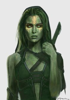 5ummit:  As much as I love the original purple, I decided to editthisGamora concept art just to see what it would look like in green. I also tweaked the markings a bit to match her yellow markings in the comics.