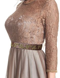A-line Jewel Floor-length Chiffon And Lace Evening Dress – USD $ 99.99