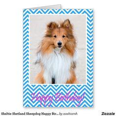 #Sheltie Shetland Sheepdog Happy #Birthday #Card Blue #dog #animal