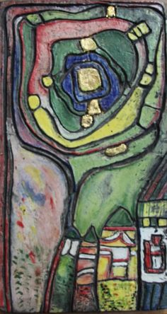 Keramiek-tableau naar Hundertwasser