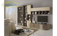 Prezzo: € 1090  Parete attrezzata in rovere grigio ante larice beige - ventrina anta scorrevole vetro  Dimensioni: L.360 P.50/70 H.220