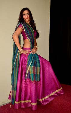 Raspberry in Tussar Silk | Dancing Gopi Skirt Outfits