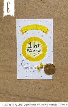 DIY Printable Birthday Scratch Cards