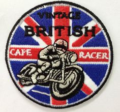 Vintage British Cafe Racer Biker iron on curcle by LanstangShop