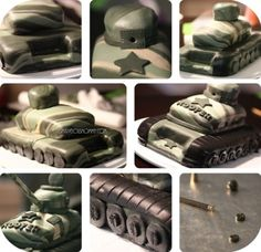 how to make an army tank birthday cake tutorial Army Tank Cake, Army Cake, Military Cake, Military Party, Military Soldier, Cake Decorating Company, Creative Cake Decorating, Creative Cakes, Decorating Tips