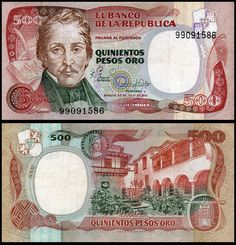 500 pesos oro 20 julio 1986 Colombia