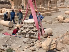 Moving a capital in the Temple of Allat, Photo: M. © Polish Mission to Palmyra / Polish Centre of Mediterranean Archaeology Palmyra, Research Institute, Archaeology, Temple, Centre, Polish, Vitreous Enamel, Temples, Nail