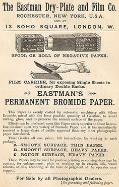 BoxCameras.com - Eastman Dry Plate & Film Co. Advertisement from the British Journal Photographic Almanac, 1887
