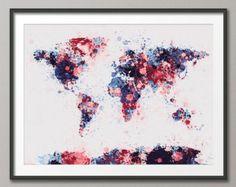 Mapa de salpicaduras de pintura de mapa del mundo por artPause