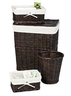 Wicker Laundry Hamper Set Lid Liner Storage Basket With