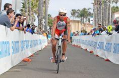 Top German pro triathlete Andi Boecherer enters T2 at the Accenture Oceanside Ironman 70.3 Triathlon.