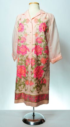 Pink Peonies Alfred Shaheen Chiffon Sleeved by petuniaMacsCloset, $30.00
