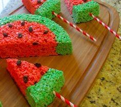 Watermelon Rice Krispies!! The kids will love this :)