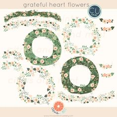 Digital Clip Art Flowers and Wreaths 13 Hand by CitrusandMint, $8.00