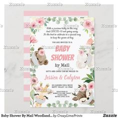 Baby Shower By Mail Woodland Animal Pink Rose Invitation Boho Baby Shower, Baby Shower Fall, Baby Boy Shower, Baby Shower Invitation Cards, Baby Shower Invitations For Boys, Virtual Baby Shower, Baby In Pumpkin, Animal, Woodland Baby