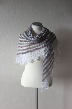 Multi colored triangular lace shawl in pink gray and by LaceForYou