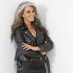 MELINDA-BRADY, this is what ill look like in the future, long hair for life and leather always Grey Hair Don't Care, Long Gray Hair, Grey Hair Over 50, Pelo Color Plata, Going Gray Gracefully, Aging Gracefully, Silver Haired Beauties, Grey Hair Inspiration, Gray Hair Growing Out