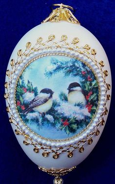 Snowy Birds Silk Print Goose Egg Ornament by MarcellasStudio, $19.95