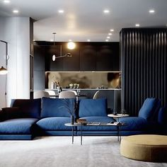 Blue and yellow home decor inspiration. Two examples of the blue and yellow interior trend; one light grey, blue & yellow interior, and one moody dark interior. My Living Room, Living Room Interior, Living Spaces, Luxury Interior Design, Modern Interior, Luxury Furniture, Furniture Design, Apartment Projects, Living Room Designs