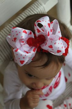 Items similar to Valentines Day Bow or Bow and Headband--- double white satin with glitter heart center --- XOXO on Etsy Baby Girl Valentine Outfit, Valentines Outfits, Valentines Diy, Cute Baby Girl, Cute Babies, Baby Girls, Baby Girl Accessories, Glitter Hearts, White Satin