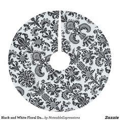 Black and White Floral Damask Christmas Tree Skirt