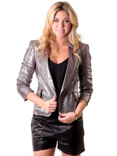 Pre-owned Arthur Mendonca Signed Metallic Blazer Leather Leggings, Leather Jacket, Off Duty, Holiday Outfits, Thigh High Boots, Thigh Highs, Metallic, Outfit Ideas, Slip On