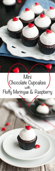 Mini Chocolate Cupcakes with Meringue and Raspberry - Delicious dark chocolate mini cupcakes, filled with raspberry jam and topped with the fluffiest meringue and a cute little heart. Perfect for Valentine's Day!   thetoughcookie.com