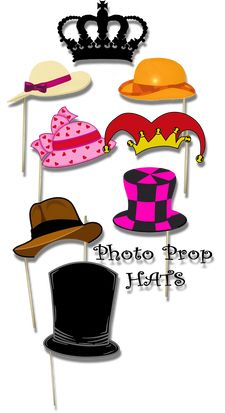 Free Printables - DIY Photo and Photobooth Props - with many, many pdfs to download of hats, word bubbles, accessories...