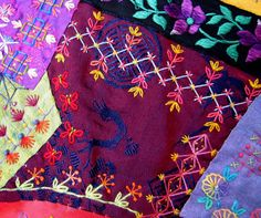 Crazy Stitcher: Sarsaparilla Crazy Quilt Crazy Patchwork, Crazy Quilting, Embellishments, Applique, Patches, Fancy, Quilts, Embroidery, Blog