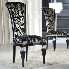 Luxurious and elegant high-back wood dining chair, made in Italy and fully upholstered in the most unique fabric available.