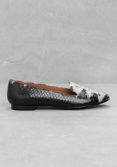 & Other Stories | Anaconda Slippers in Black And white | 100% Cow leather | £65