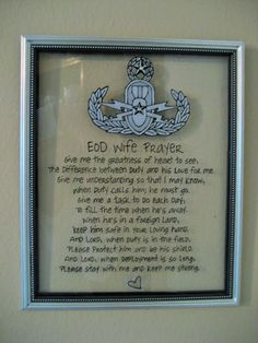 Hand painted EOD Wife Prayer with Master Badge by CreationsbyGena