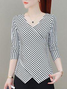 Autumn Spring  Nylon  Women  V-Neck  Striped Long Sleeve T-Shirts
