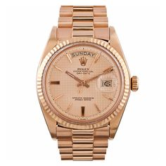 1stdibs | ROLEX Rose Gold Day-Date Wristwatch with Pyramid Dial