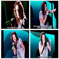 """Or is it?"" :D  Harry's response to fans telling him to take his shirt off"