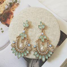 mint green rhinestone green gemstone drop earrings sets